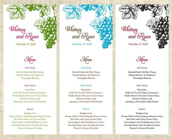 Printable Wedding Menu Card Wedding Menu Template By Memdesignshop
