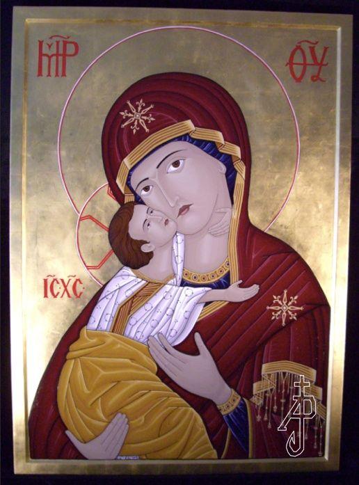 Theotokos icon written for St. Joseph the Worker Church, Victoria BC. Icon portfolio by Andre Prevost in the Victoria area