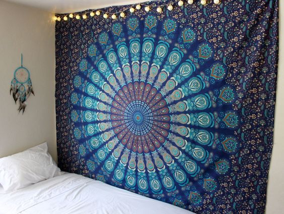 Turquoise Dreams Mandala Tapestry by Lady Scorpio