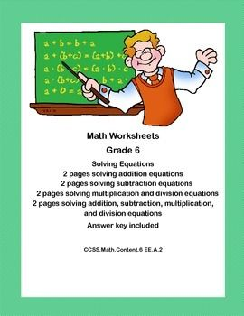 math worksheet : solving equations all 4 operations worksheets ccss math content  : Solving Equations Using Addition And Subtraction Worksheets