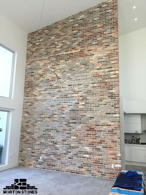 A Stunning Brick Veneer Feature Wall Mortonstones Brick Tiles Rustic Home Decor Brickveneer Brick Interior Wall Brick Feature Wall Faux Brick Walls