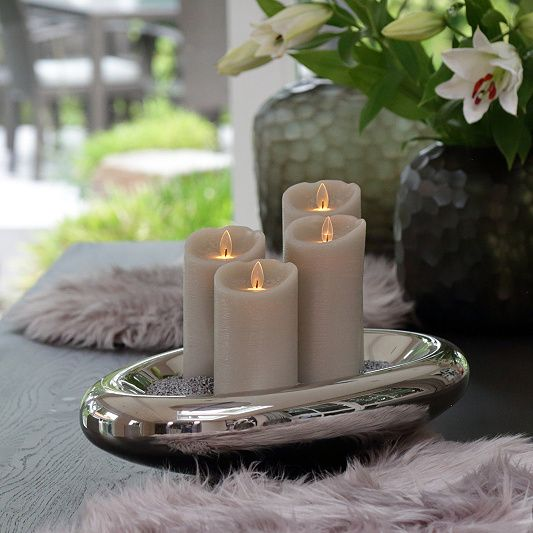 Elambia Led Kerzen Set Kristall Flamme Inkl Fernbedienung Hohe 12