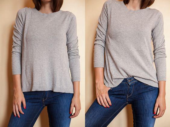 """Consigli di moda: migliorare il look con i trucchi delle stylist (""""Camicia / t-shirt troppo grandi? Evita effetto sacco. Se la camicia o la tee o addirittura il maglione sono troppo grandi e vi sembra di avere troppo l'effetto """"sacco"""", infilate l'estremita' centrale all'interno del pantalone/gonna a scoprire la vita o il bottone."""") #howtowear"""