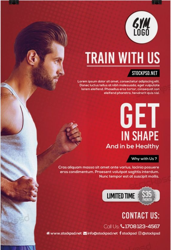 Fitness \ Gym u2013 Download Free PSD Flyer Template Free Flyer - Gym Brochure Templates
