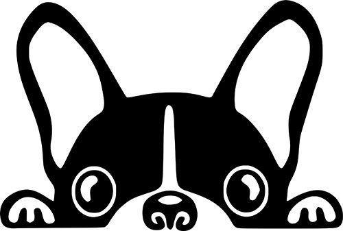 Boston Terrier Peeking Out Vinyl Decal By Bergerboss On Etsy In 2020 Dog Peeking Dog Decals Boston Terrier