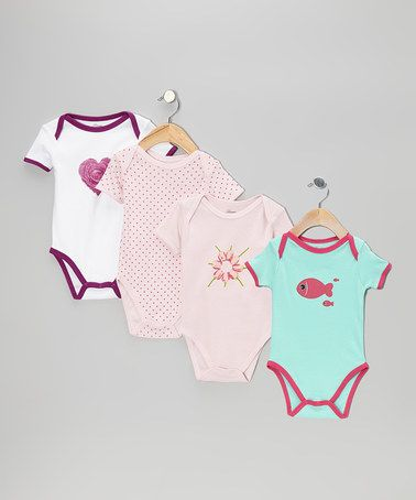 Another great find on #zulily! Pink Heart Nature Bodysuit Set - Infant #zulilyfinds