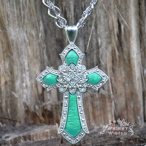 Cowgirl Western Cross with Clear Crystal and Turquoise colored accents