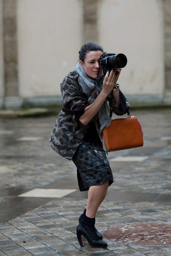 Garance shooting in her black sparkle Miu Miu heels. Taken by her BF the Sartorialist.