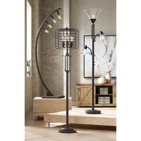 Warwick Tree Torchiere Led Floor Lamp With Edison Bulbs 32y35 Lamps Plus Floor Lamp Design Stylish Floor Lamp Bronze Floor Lamp