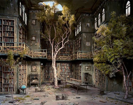 Lori Nix, spends months building the Post Apocalyptic dioramas to then photograph. Brilliant. {Trees and Books - the two best things in life}