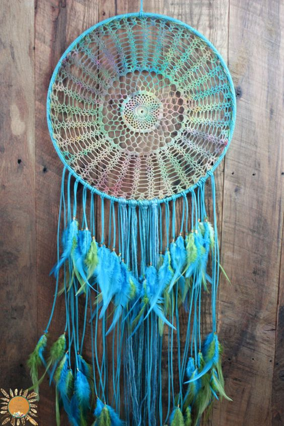 extra large aqua dream catcher with a tie dye doily in yellow turquoise and green dyes. Black Bedroom Furniture Sets. Home Design Ideas