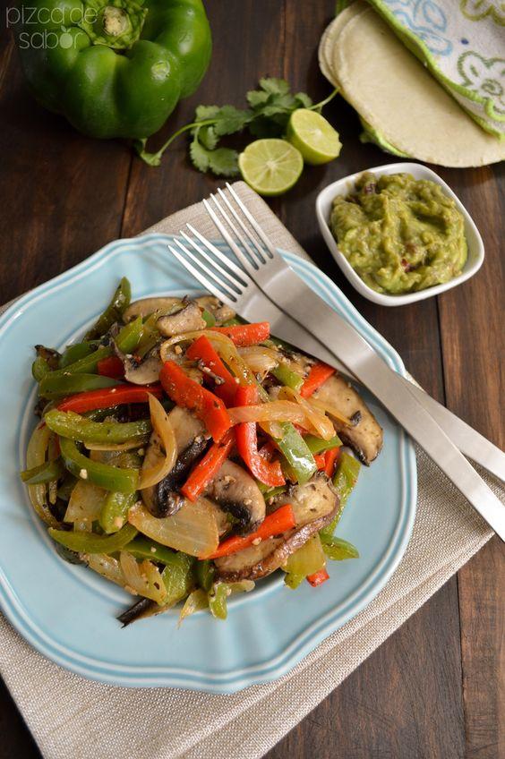 Fajitas vegetarianas de portobello www.pizcadesabor.com