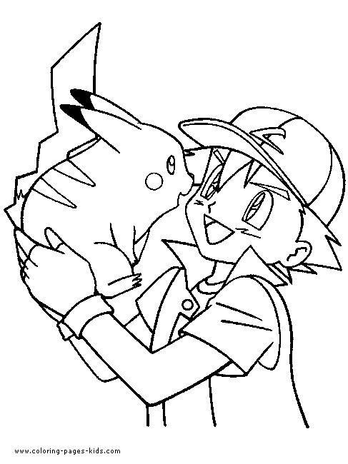 kleurplaat ash en pickachu pokemonkleurplaten