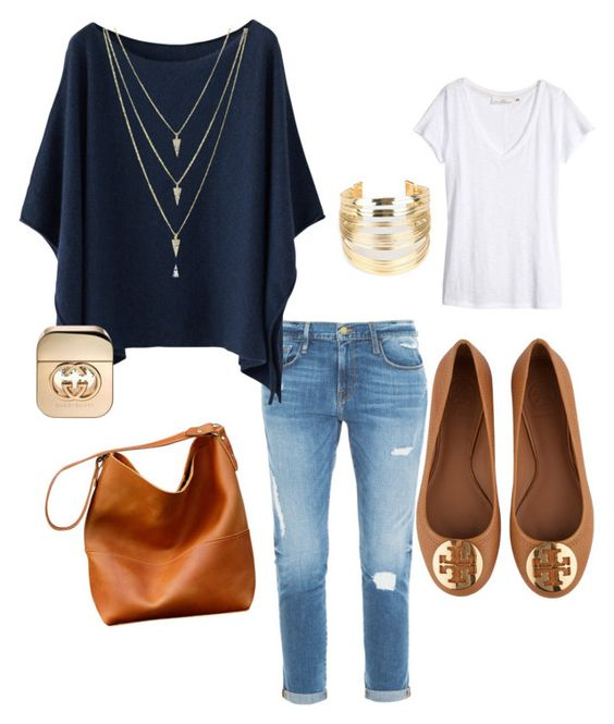 """""""Favorite blue poncho"""" by glorian2moz on Polyvore featuring Frame Denim, H&M, Tory Burch, WithChic and Gucci"""