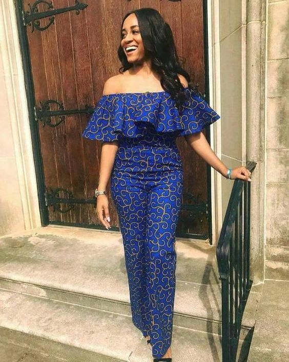 Get in touch with your inner beauty queen in this African off-shoulder jumpsuit with a zip at the back to make it fitted. Suitable for dinner invite, official meetings, romantic dates and any party. This dress is made with high quality cotton African print. It is also available in
