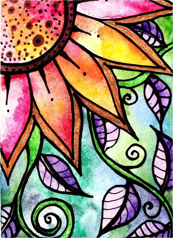 Details about Floral ACEO original sun leaves flowers watercolor ...