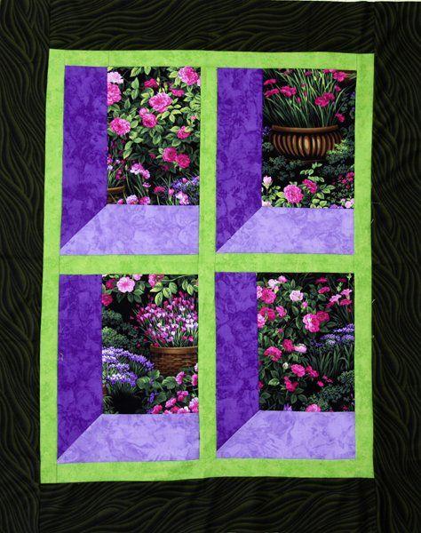 Quilt - Blick in den Garten 2