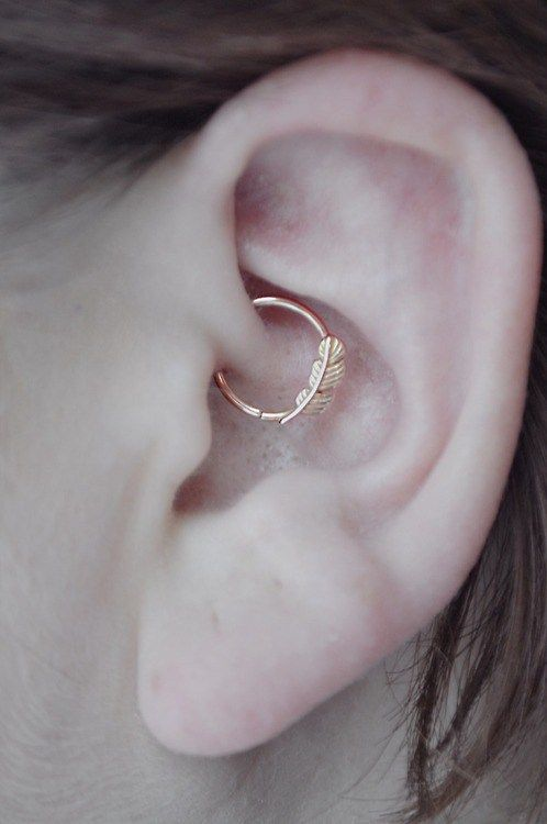 feather ring daith piercing