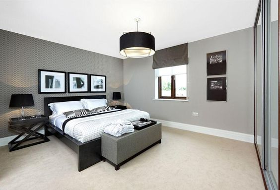 light grey decorating | Elegant and modern bedroom with light grey decor. | Great homes