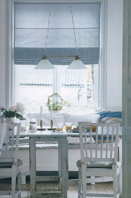 Swedish blue and white kitchen with gingham roman shade. Blue and White Kitchen Decor Inspiration { 40 Home Decor Ideas to PIN}