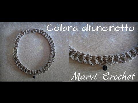 Tutorial collana,girocollo,all'uncinetto/ Crochet bijoux necklace - YouTube