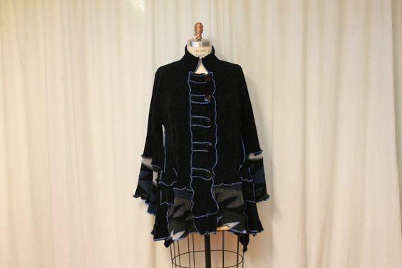 Black cardigan Altered moda Womens funky coat Chenille by MilaLem