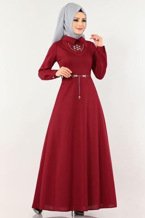 Modaselvim Elbise Inci Detay Kemerli Elbise Pl894 Bordo Elbiseler Elbise The Dress