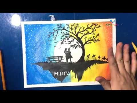 Couple Moonlight Scenery Drawing With Oil Pastels Miutv Draw For Kids Drawing For Kids Drawing Lessons For Kids Oil Pastel