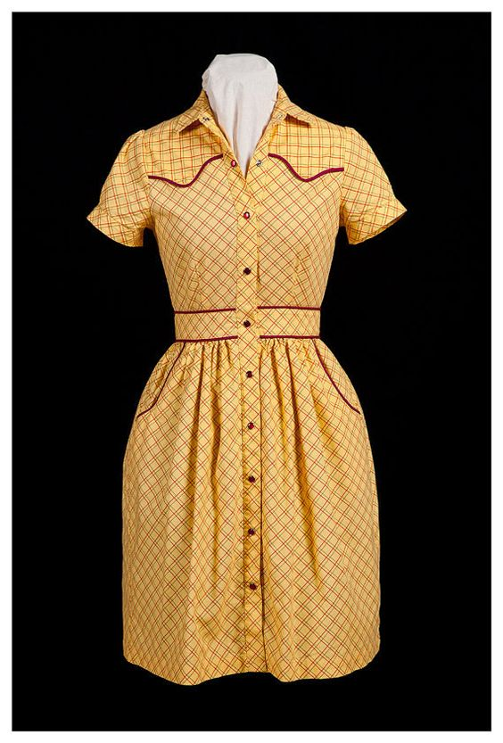 SAMPLE SALE Yellow 1940&39s vintage style western dress ready to ...