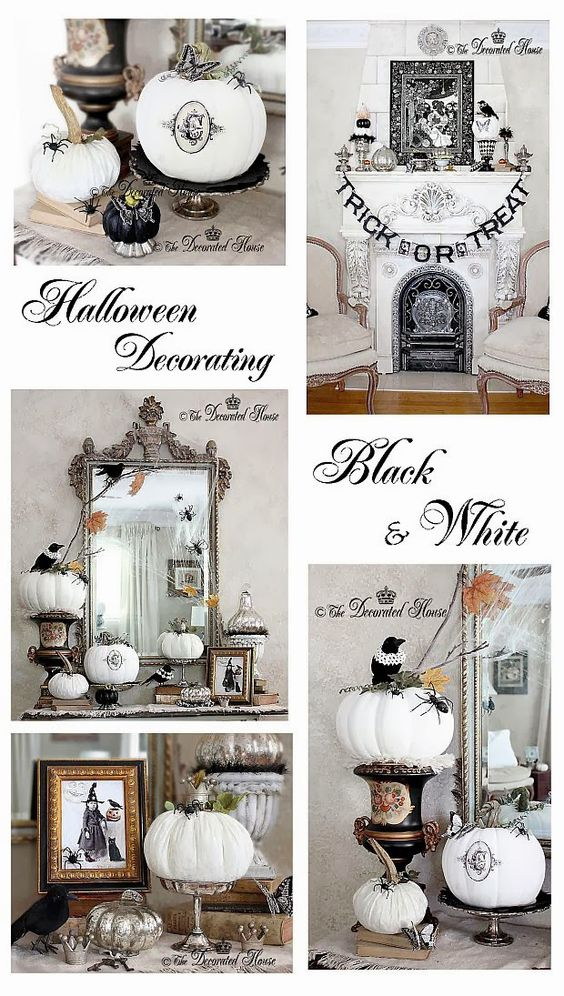 house halloween decorating mercury glass with black white