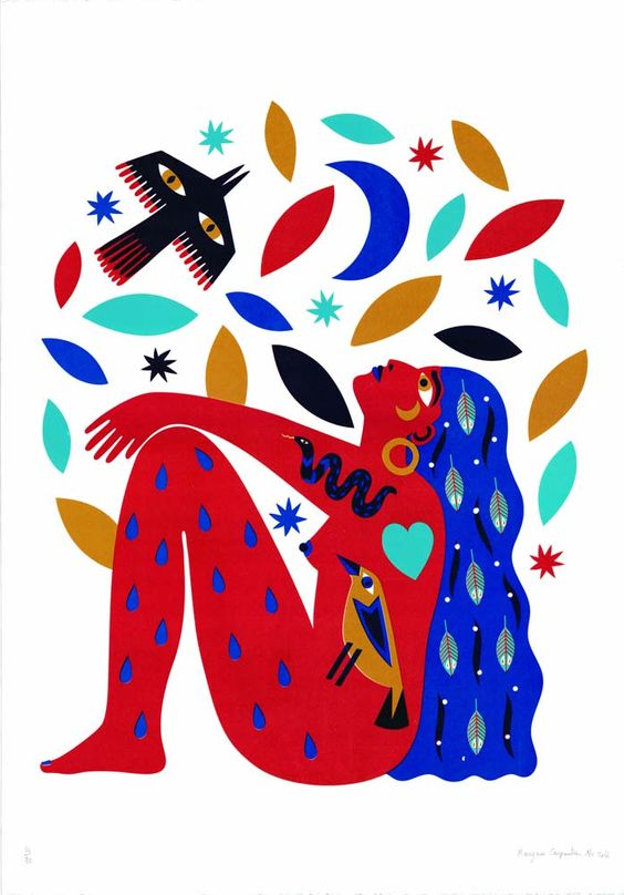 A 4 colour screen print inspired by a Bob Dylan song.. 'To The Stars Above' by Margaux Carpentier available at Print Club London