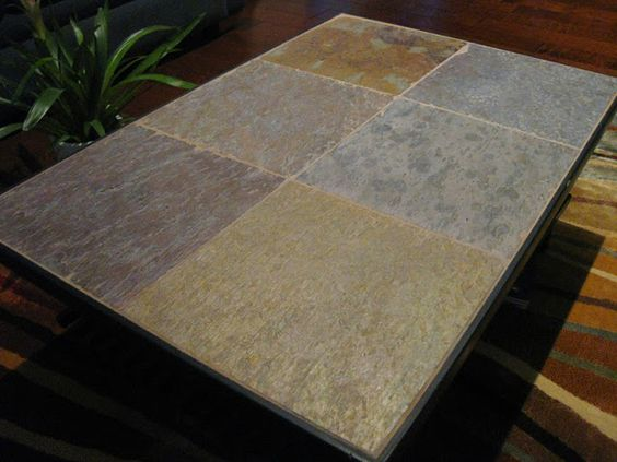 Ikeahacker diy stone top coffee table made of shoe racks and slate tiles new apartment ideas Stone coffee table top