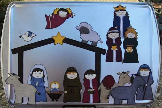 Magnetic Nativity Scene--I totally made one of these years ago for my fridge...good idea to use it on a cookie sheet. :