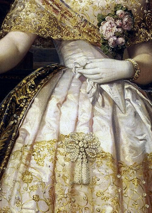 Isabel II, reina de España (detail), Federico de Madrazo y Kuntz, 1848: