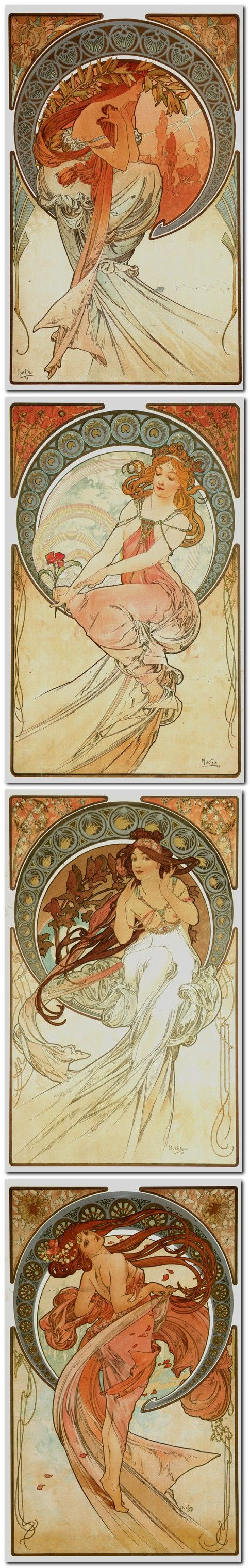By 1898, Mucha had become a famous and creative Art Nouveau artist. He designed and published postcards, theatre and advertisement posters, numerous illustrations and decorative panels series, set around central themes inspired by nature, some printed on silk. He produced an astonishing amount of drawings, pastel or watercolor studies and designs for interior decorations, cutlery and dinner object, jewelry and fashion.