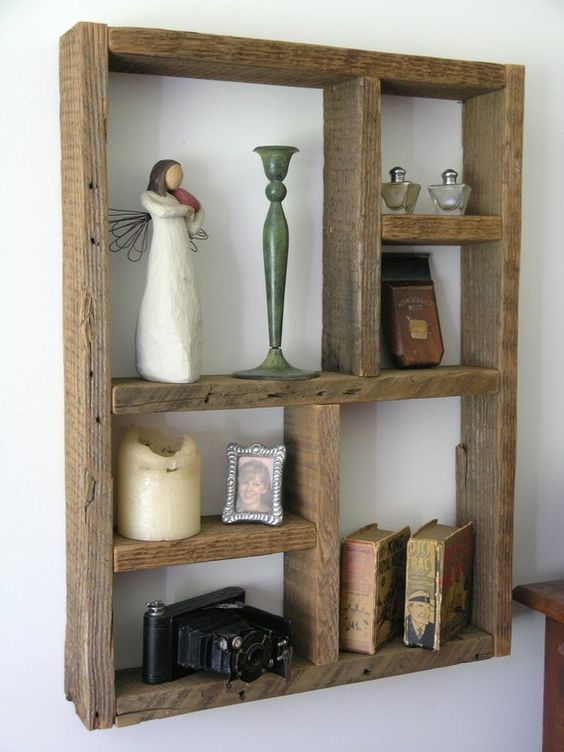 For the wall space behind left speaker g could make this for Reclaimed wood bookshelf diy