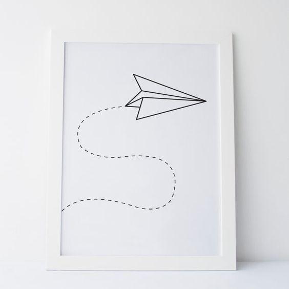 "Printable Art ""Paper Airplane"" Wall Art Wall Gallery Wall Print Black and White Prints Monochrome Prints Office Art Dorm Art Dorm Decor"