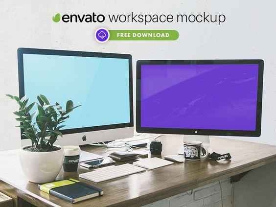 Free Envato Workspace PSD Mockup  #mockupcatalog #free #graphicdesign #graphicdesignresources #graphics #webdesign #design  #mockup