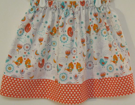 Orange Birds and Flower Skirt  Size  2  8 by bubblenbee on Etsy
