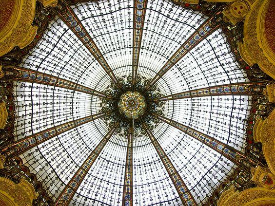 Glass domed ceiling, Galeries Lafayette, Paris.