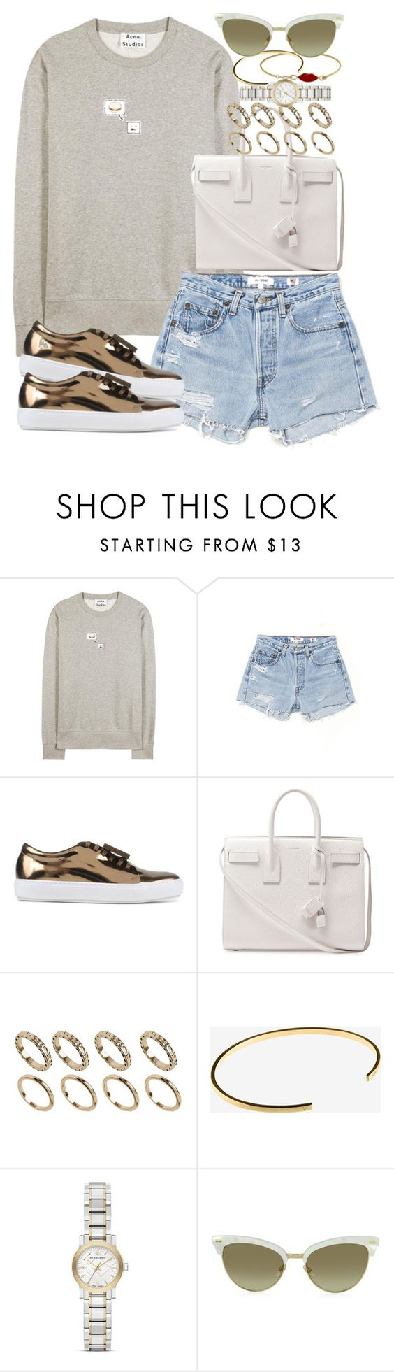 """""""Sin título #3964"""" by hellomissapple on Polyvore featuring moda, Acne Studios, RE/DONE, Yves Saint Laurent, ALDO, Le Gramme, Burberry y Gucci"""