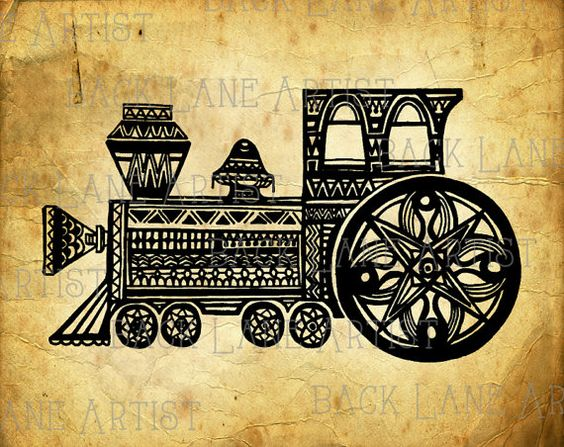 Vintage Locomotive Train Clipart Lineart by BackLaneArtist on Etsy
