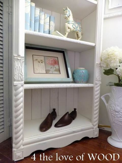 Lovely Embellish Wood Shelves With Decorative Trim Pieces From Discarded Furniture.  So Cute!! Tie