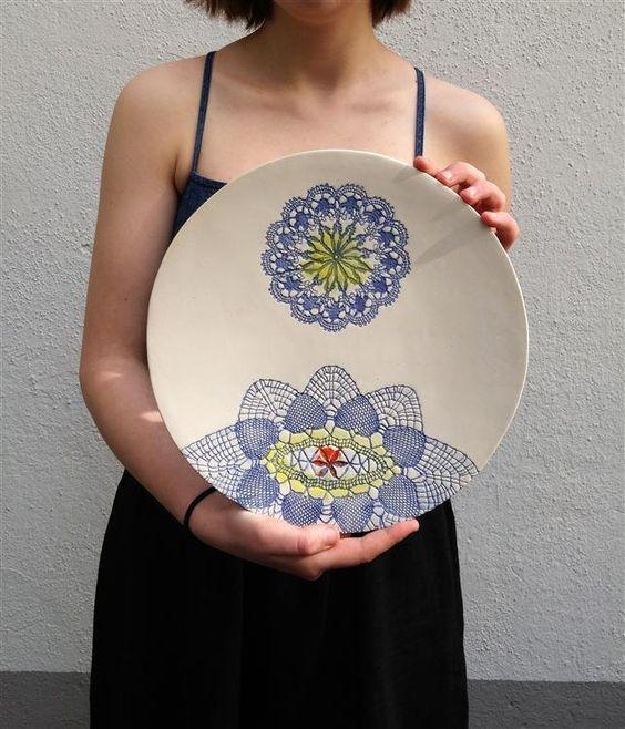 Inspirational Wand Keramik Teller Wand Deko Platte Keramik Platte shabby chic art deco