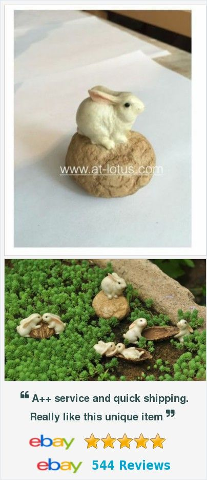 Rabbit bunny on stone mini resin sculpture miniature Lawn Decor