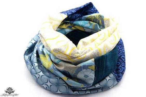 Loop aus reiner Baumwolle von #Lieblingsmanufaktur: blau, weiß