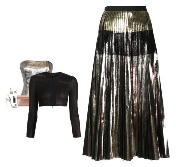 """""""Proenza Schouler - Metallic Pleated A-Line Skirt Style"""" by twinklebluegem ❤ liked on Polyvore featuring Ted Lapidus, GiGi New York, Narciso Rodriguez, Proenza Schouler, shu uemura, Giuseppe Zanotti, Christian Dior, women's clothing, women and female"""
