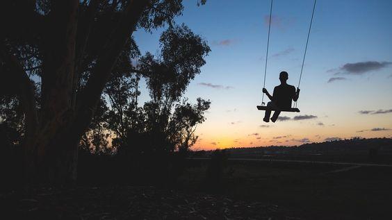 Swing, Velada, Tarde, Noche, Persona, Silueta, Árboles