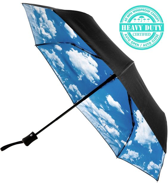 such a fun cloud print on the inside of this umbrella
