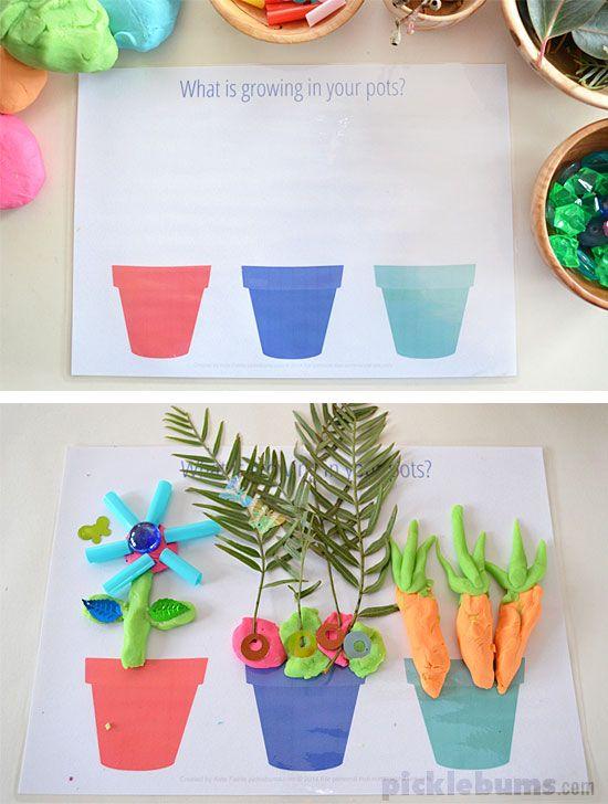 Free printable garden and growing play dough mats for Gardening tools preschool